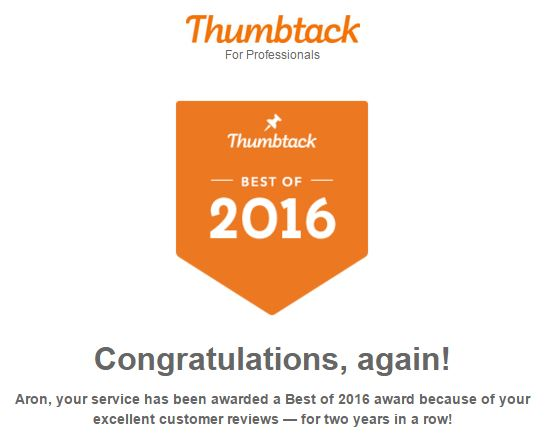 Thumbtack Award - 2016 Excellence Award